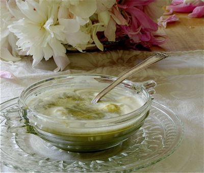 cold asparagus soup with crunchy coins
