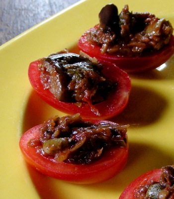 Juliet tomatoes are ideal bite-size caponata containers.