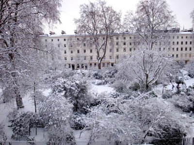 Eccleston Square covered with snow
