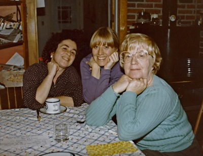In Monika's kitchen, 1985. Ilse out front. You can tell which one is Monika and which one is me.