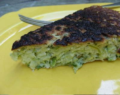 zucchini material as cake, cooked thicker and broiled browner
