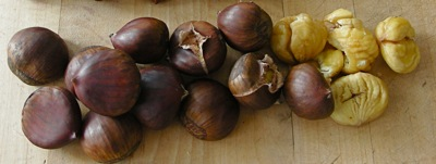 Fresh chestnuts, roasted and peeled