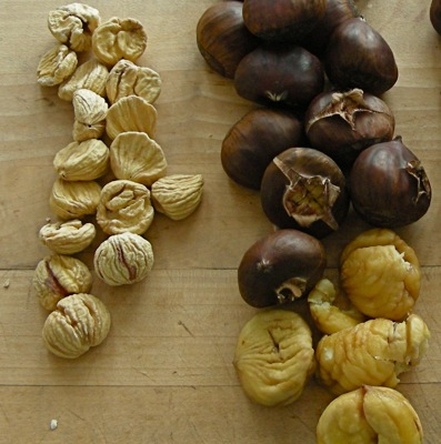 On right, fresh chestnuts. On left, one of the all-time convenience ingredients: peeled, skinned and ready to go, as easy to cook as dried beans.