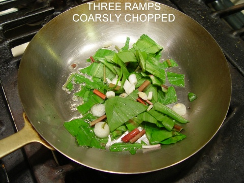 cut ramps in frying pan