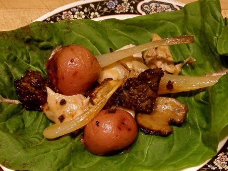 endive leaf with morel ramp stuffing