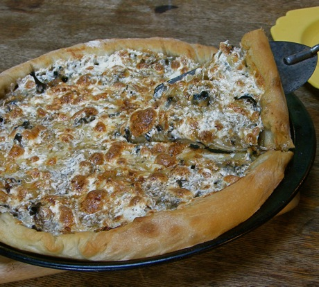 pizza with black trumpet mushrooms