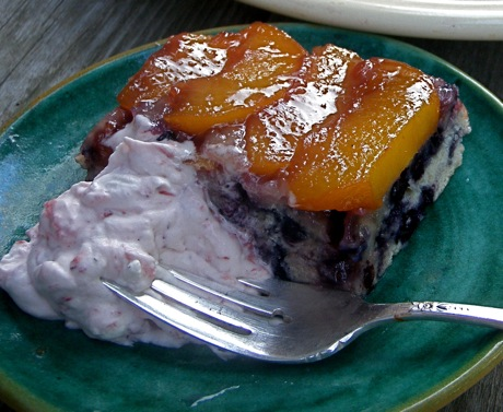 blueberry peach upside down cake/raspberry cream