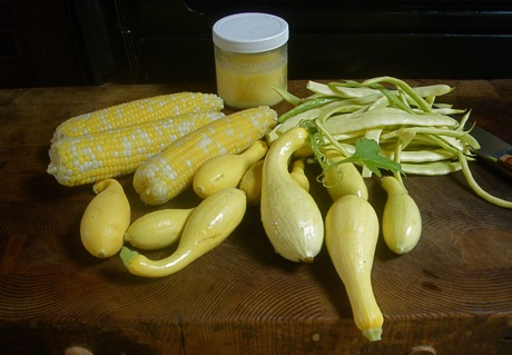 yellow vegetables squash corn beans
