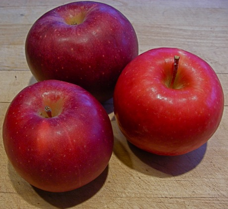 apples: winesap top, stayman botom, pink lady right