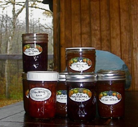 jars of home made jams and catsup