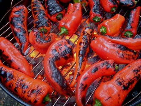 roasting Krimson Lee peppers