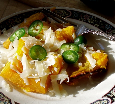 baked squash with jalapenos and piave