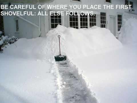 BE ATTENTIVE TO THE FIRST SHOVELFULL, ALL ELSE FOLLOWS.