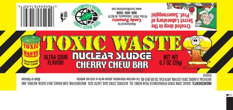 label of cherry toxic waste chew bar