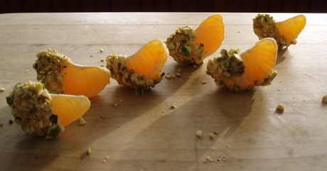clementines with white chocolate and pistachio