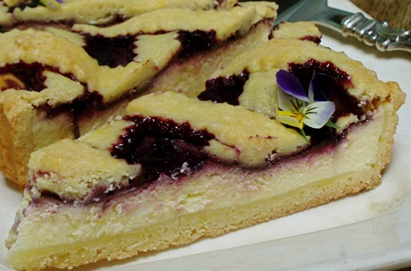 ricotta plum tart, sliced
