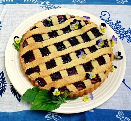 plum-topped ricotta tart
