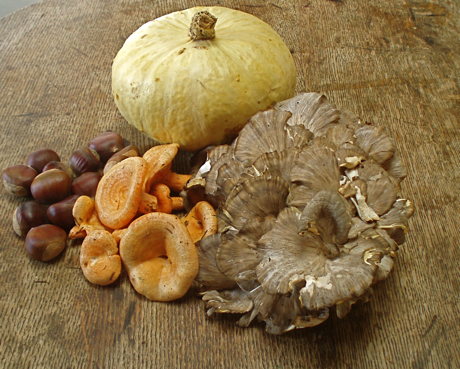 chestnuts,wild mushrooms, winter squash