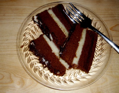 one-bowl chocolate cake, with filling and frosting