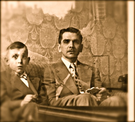 antique photo, man and boy