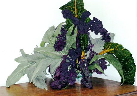 bouquet of vegetables: cardoon, kale and chard