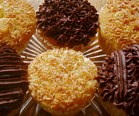 corn and coconut cupcakes, with chocolate and coconut