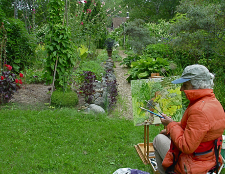 lois dodd painting in leslie lands garden